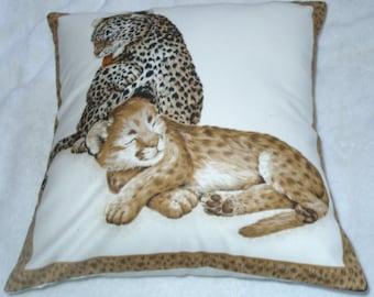 On Safari Leopard Cubs cushion