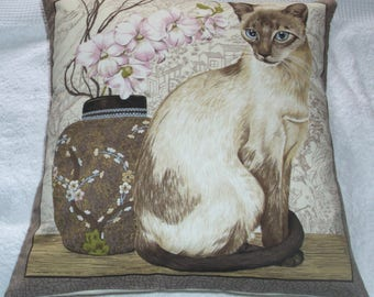 Oriental Cat and Orchid cushion