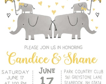 Co Ed Twins Baby Shower Invitation And Book Card Insert, Elephant With  Yellow Umbrella