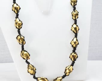 silver gold  plated beads necklace