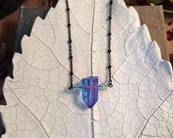 Aura Quartz crystal necklace // blue crystal necklace // pink crystal point necklace / gothic necklace / aura necklace / titanium aura