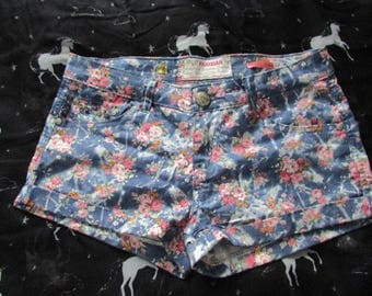Studded Floral Print Pink and Blue Hot Pants Shorts