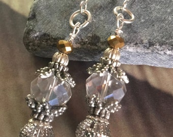 Silver Filagree drop earring with Swarovski crystals