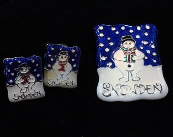 Vintage Target Snowden the Snowman Holiday Brooch and Earrings Set