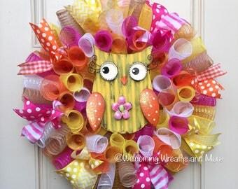 Owl Wreath, Summer Mesh Wreath, Spring Deco Mesh Wreath, Owl Mesh Wreath, Spring Wreath, Spring Owl Wreath, Summer Owl Wreath