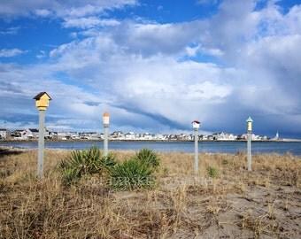 Birdhouses under a March sky, Scituate, Massachusetts, art photo, home decor, south shore, wall art, archival print, by Joe Parskey