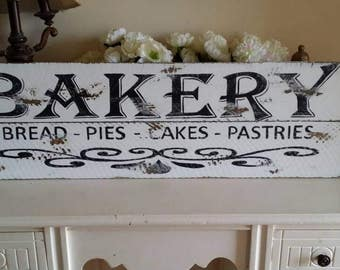 Bakery Rustic Sign, Wood Wall Art Fixer Upper Magnolia Market Style Farmhouse Kitchen Sign