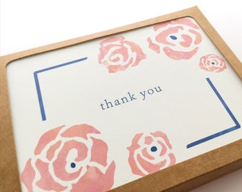 Watercolor Floral Thank You Card Set / Spring Outdoor Wedding Thank You Notes / Garden Party Thanks, Royal Blue Chic Bridal Shower Gratitude
