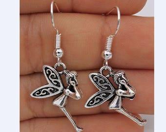 Drop dangling guardian angel fairy earrings jewellery boho silver plated hook vintage