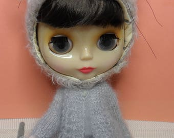 BLYTHE DOLL -- Light grey- Mohair/Silk..Lace Knit  Sweater / Cardigan --