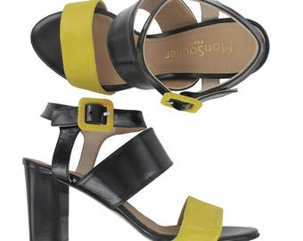 Yellow and black leather ankle strap sandal, Black leather sandals, Yellow sandal, Italy shoes,Women leather sandal, Rio