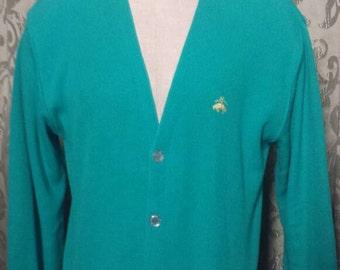 Brooks Brothers vintage teal men's cardigan size M.Ships free
