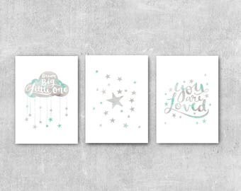 Mint and Grey Nursery Prints, Baby Gift, Grey Nursery Decor, Set Of 3 Prints, Watercolor Nursery Art, Nursery Set, Baby Wall Art, Dream Big