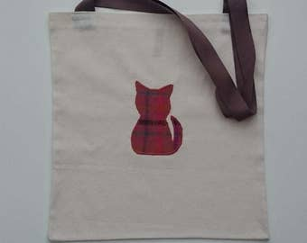Calico Tote Bag with Cat Motif