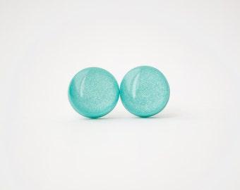 Aqua Stud Earrings - AQUA SHIMMER STUDS - aqua earrings - aqua studs - surgical steel posts