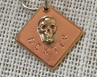 Personalized Pet ID Tag, Skull, Dog Tag, Cat Tag, Metal Tag