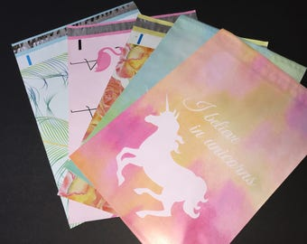 100  10x13 Designer Assortment Flamingo Peacock Waterblossoms Unicorn Poly Mailers 20 Each Self Sealing Envelopes