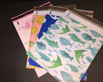200  10x13 Nautical Beach Assortment FISH Marine  ANCHOR Nautical Flamingos Pineapples Poly Mailers 50 Each Self Sealing Envelopes