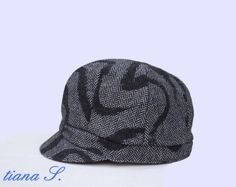 Cap / Hat grey black, with wool