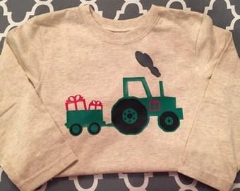 Christmas shirts, boys clothing, boys Christmas shirts, personalized gifts, monogrammed shirts, tractor shirt, Christmas tractor
