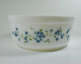 Vintage Acropal Large Serving Bowl Veronica Pattern, 1970's Large Arcopal Milk Glass Bowl, Arcopal Forget-Me-Not Large Bowl, French Bowl