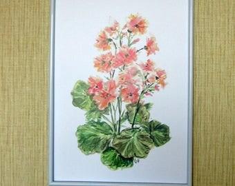 Pink geranium poster - Pink flowers pelargonium - Watercolor flowers Wall Art - Printable artwork - Instant Download - Digital File