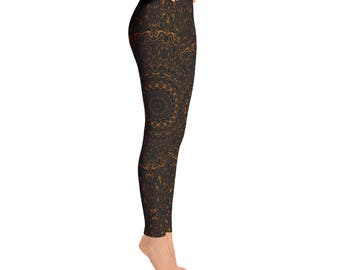 Brown Yoga Pants - Black Leggings with Brown Mandala Designs for Women, Printed Leggings, Pattern Yoga Tights