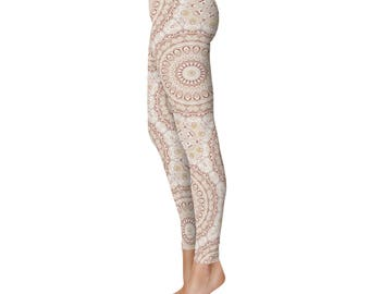 Boho Leggings - Stretchy Yoga Pants, Red and Beige Mandala Pattern Clothing, Kaleidoscope Pattern Printed Tights