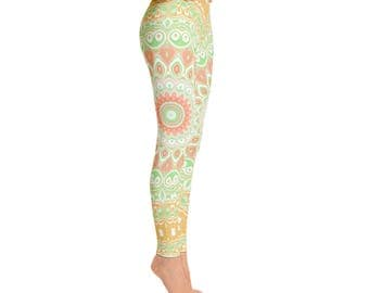 Leggings for Spring and Summer - Watermelon Abstract Art Leggings, Fun and Bright Yoga Pants, Yoga Tights