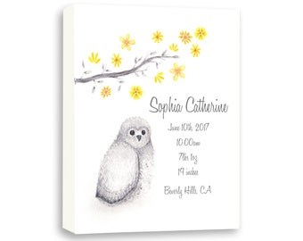 Personalized Baby Birth Stat on Canvas, Watercolor Cute Baby Owl, Baby Girl Birth Stat Gift From Godparents, O1004C