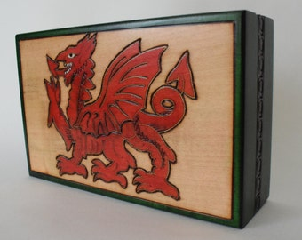 Handmade Wooden Keepsake with Welsh Dragon Motif / Box with Cymru / Welsh Box /