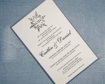 Snowflake Wedding Invitation Invitation, Winter Wedding Invitation, Snow Wedding Invitation, Snowflake Invitation, Winter Invitation