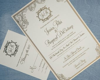 Baroque Wedding Invitation, Vintage Invitation, Gold Wedding Invitations, Raised Ink Invitations, Vintage Invitations,  Beautiful invitation