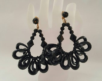 Black Resin Statement Earrings