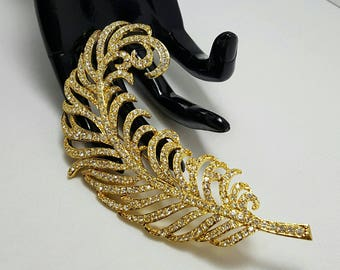 Rhinestone Feather Brooch