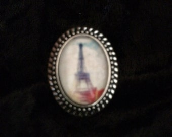 Vintage Eiffel Tower 2 Oval Ring