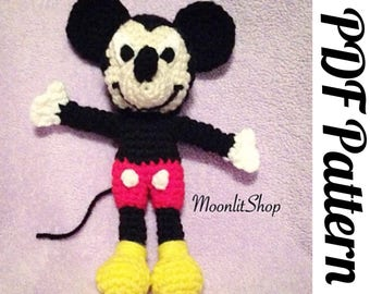 Crochet Mickey Mouse Inspired  Amigurumi Doll PDF Pattern