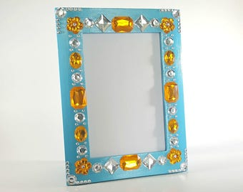 Blue Picture Frame - 4x6 Picture Frame - Jeweled Picture Frame - Gem Picture Frame - Sparkly Picture Frame - Photo Frame 4x6