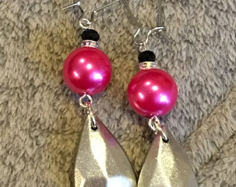 Hot Pink and Silver Dangle Earrings