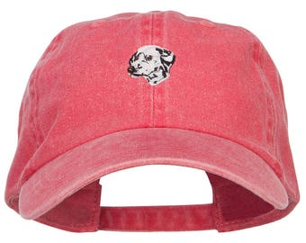 Dalmatian Embroidered Washed Buckled Cap