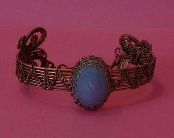 Blue lace agate bracelet, copper bracelet, copper cuff bracelet, gemstone jewelry, gift, boho jewelry, blue stone bracelet