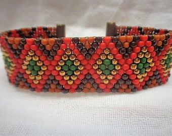 Seed Bead Bracelet, Beaded Bracelet for Women, Peyote Bracelet ,  Brown, Red,, Brass, Green and Terra Cotta Toho Seed Beads
