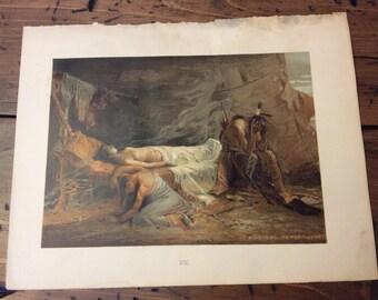 Antique Print - Lithograph, Longfellow, Hiawatha, Death of Minnehaha, 1892 Book Page (B024)