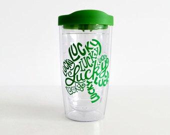 St Patrick's Day tumbler, lucky tumbler, coffee mug, Irish, Kiss me I'm Irish