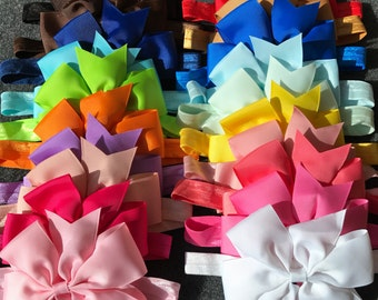 Set of 20 Large Baby Bow Headbands, Baby Bow Headband, 4.5 Inch Bow Headband, Newborn Bow Headband, Infant Bow, Baby Bows, Big Bow Headbands