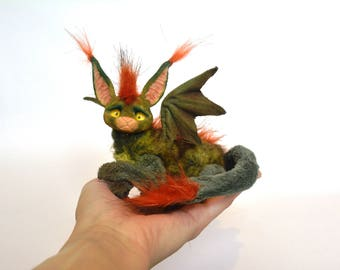 Fantasy Stuffed Animal Green Pocket Dragon Mythical Creature Magical Stuffed Toy Art Sculpture Kawai Cute Gentle Fantasy Stuffed Animal