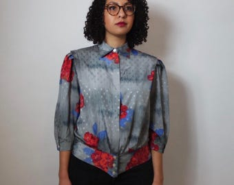 vintage floral blouse   80s silky shirt   collar shirt size 12