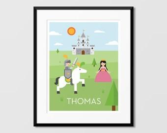 Knight Castle Art, Knight Wall Art, Custom Name Art,Nursery Art, Kids Wall Art, Childrens Art