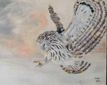 Flying owl acrylic painting
