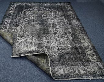 "Grey over-dyed rug, antique rug, Persian over dyed rug, grey redesign rug, grey/gray faded rug. Size:7'9""x10'11"""